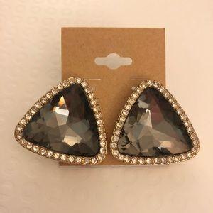 Faux Smokey quartz and rhinestone stud earrings!